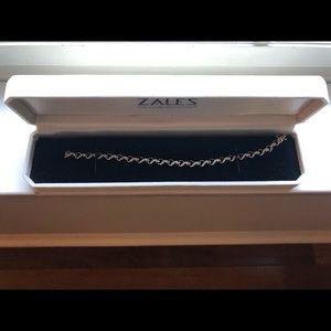 Zales Diamond and 10K Gold Heart Line Bracelet